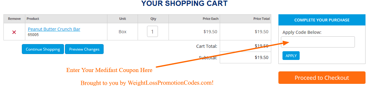 how to use medifast code at checkout